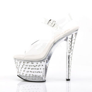 Shoes - 7 Inch High Heel Rhinestone Clear Platform Shoes